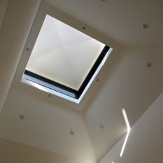 lighting and ventilation from the roof apex allows dramatic light in and draws out heat
