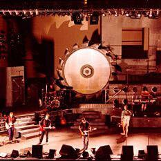 the 'Cut' tour stage design for the band Hunters & Collectors used industrial themes