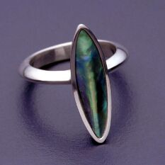 a paua shell and sterling silver ring, using the boat shape I am so fond of