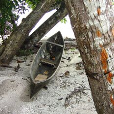 a simple canoe and orange bark highlights in the Solomon Islands